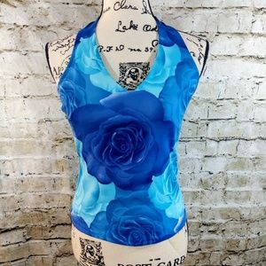 Fashion Bug Blue Rose Halter Top size Small